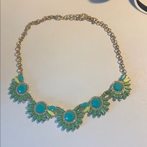 Jewelry - Neon Yellow Green and Teal Necklace with crystals